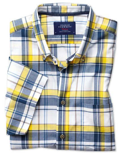 Classic fit button-down poplin short sleeve navy blue and yellow check shirt