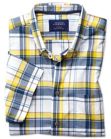 Slim fit button-down poplin short sleeve navy blue and yellow check shirt