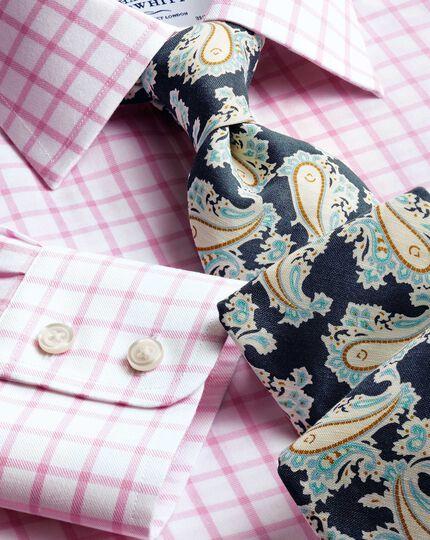Navy cotton mix printed floral Italian luxury tie