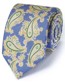 Blue cotton mix printed paisley Italian luxury tie
