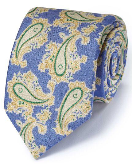 Blue cotton mix printed floral Italian luxury tie
