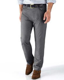 Grey slim fit 5 pocket textured dobby trousers
