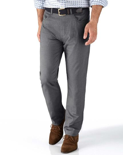 Grey slim fit 5 pocket textured dobby pants