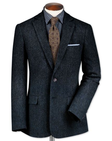 Slim fit blue lambswool hopsack jacket
