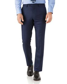 Royal blue slim fit flannel business suit trousers