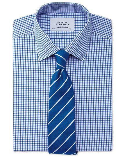 Extra slim fit non-iron grid check navy blue shirt