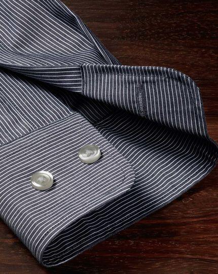 Classic fit non-iron poplin indigo stripe shirt