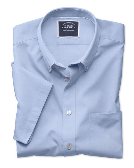 Classic fit button-down washed Oxford short sleeve sky blue shirt