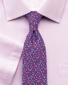 Classic fit non-iron Windsor check short sleeve pink shirt