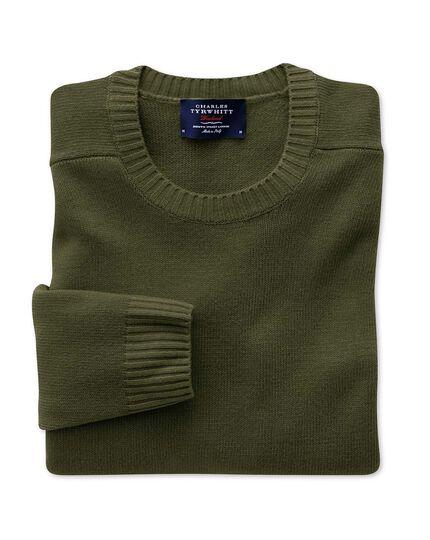 Olive lambswool crew neck sweater