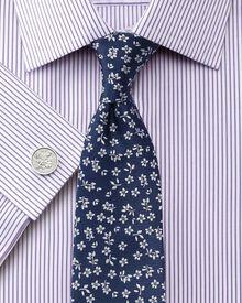 Slim fit Bedford raised stripe lilac shirt
