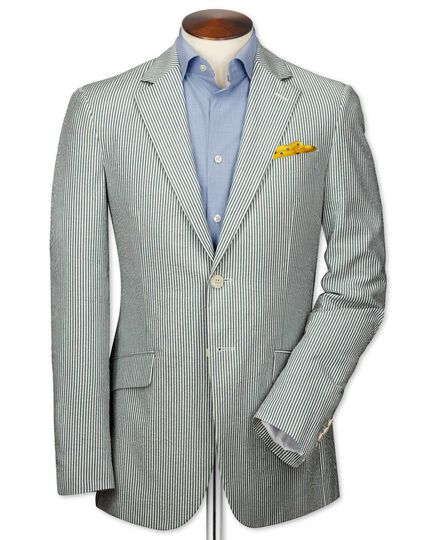 Slim fit sky and white stripe seersucker jacket