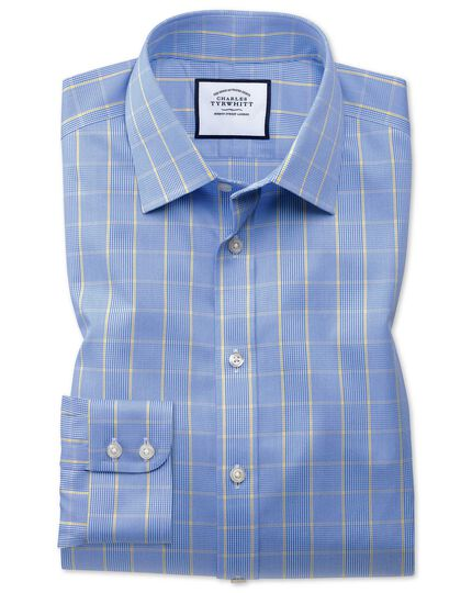Slim fit non-iron Prince of Wales blue and gold shirt