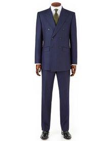 Navy stripe slim fit saxony business suit DB jacket