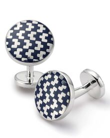 Navy round geometric enamel cuff links