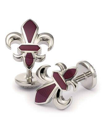 Burgundy Fleur-de-Lys enamel cuff links