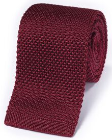 Red silk knitted classic tie