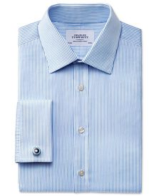 Slim fit raised stripe sky blue shirt
