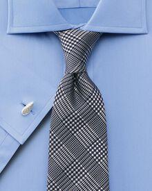 Slim fit luxury semi-spread twill sky shirt