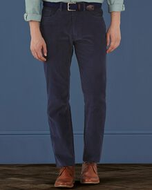 Navy slim fit fine cord 5 pocket stretch trousers