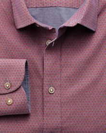 Slim fit red and blue geometric print shirt