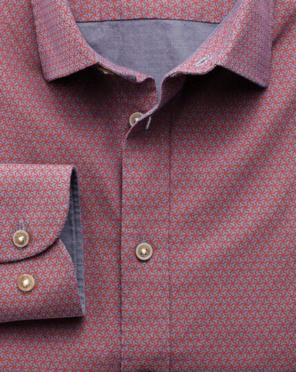 Extra slim fit red and blue geometric print shirt
