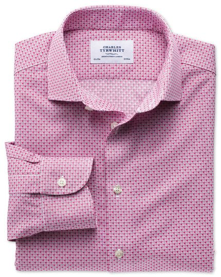Slim fit semi-cutaway collar non-iron business casual grid check magneta shirt