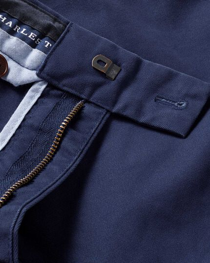 Marine blue classic fit flat front chinos