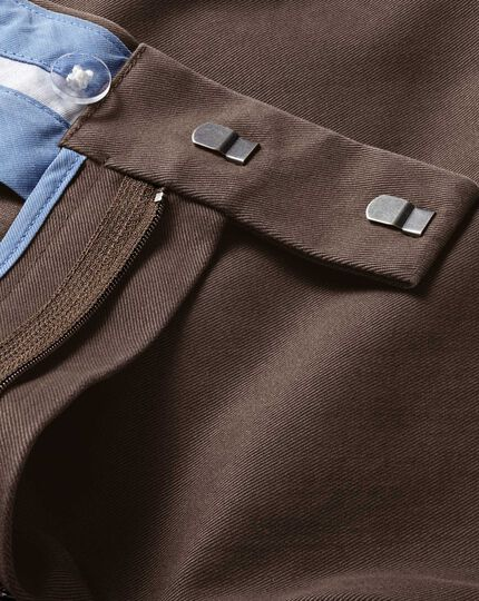 Dark brown slim fit flat front non-iron chinos