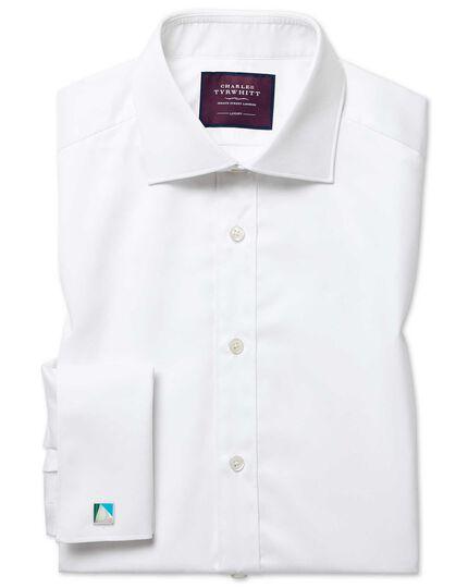 Extra slim fit semi-cutaway luxury twill white shirt