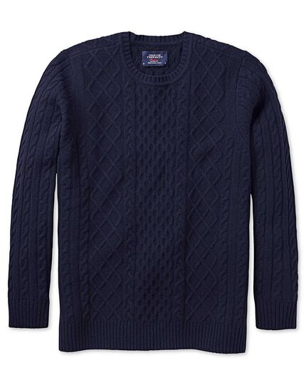 Navy lambswool cable crew neck jumper