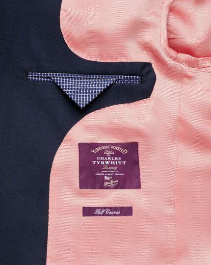 Slim Fit Luxusanzug Sakko aus Yorkshire-Gewebe in marineblau mit Hahnentrittmuster