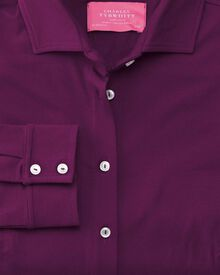 Purple semi fitted stretch jersey shirt