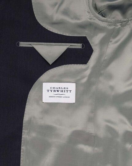 Airforce blue slim fit herringbone business suit jacket