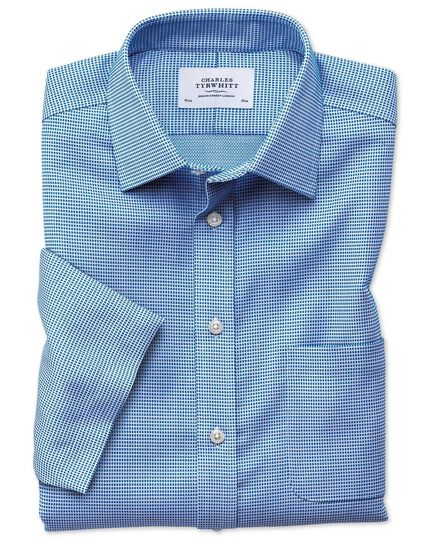 Bügelfreies Classic Fit Kurzarmhemd in Blau mit Strukturen