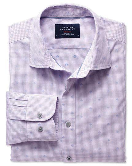 Extra slim fit poplin dobby spot pink and blue shirt