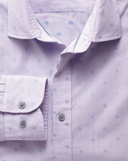 Extra slim fit pink and blue poplin dobby spot shirt