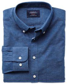 Classic fit blue cotton linen shirt
