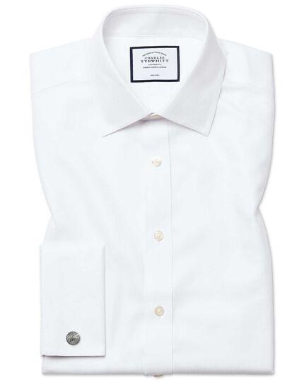 Chemise blanche en royal panama sans repassage coupe droite