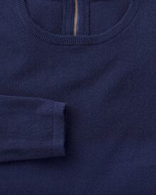 Blue merino cashmere zip back jumper