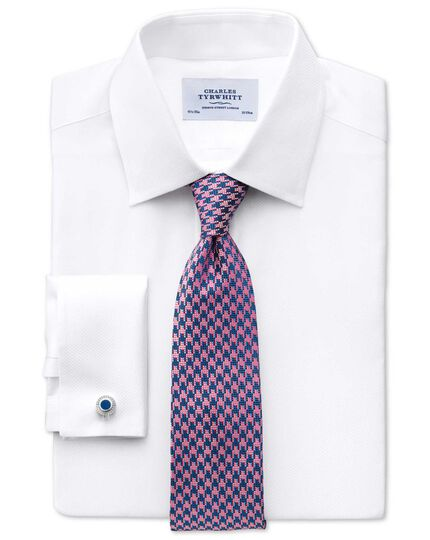 Royal and pink silk houndstooth classic tie