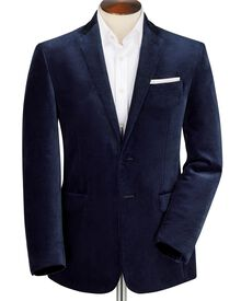 Midnight slim fit blue velvet jacket