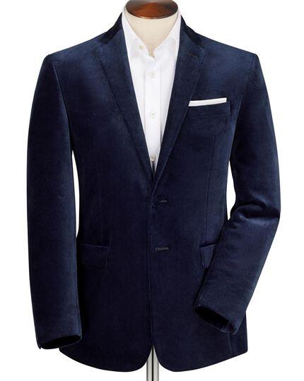 Midnight slim fit blue velvet jacket