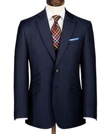Navy slim fit herringbone Yorkshire worsted luxury suit