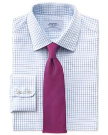 Slim fit non-iron windowpane check sky blue shirt