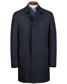 Blue puppytooth wool car coat