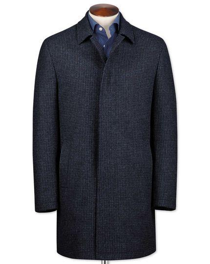 Blue puppytooth wool car coat