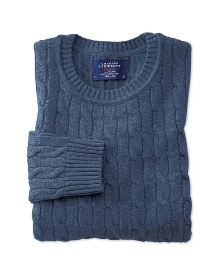 Sky blue lambswool cable knit crew neck sweater