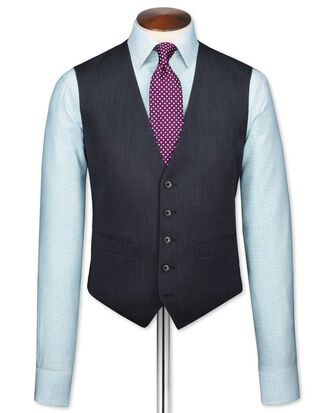 Navy end-on-end business suit waistcoat