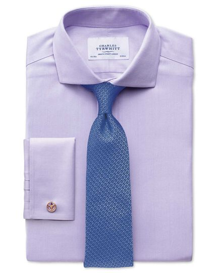 Extra slim fit spread collar non-iron herringbone lilac shirt